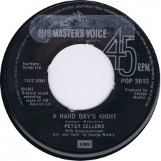 PETER SELLERS A Hard Day's Night / Any Old Iron (Parlophone POP 2012) UK 1965 45 (1980 reissue)