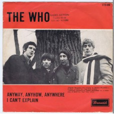 WHO,THE Anyway, Anyhow, Anywhere / I Can't Explain (Brunswick O 55006) Holland 1965 PS 45