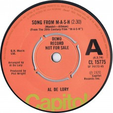 AL DE LORY Song From M-A-S-H / Feeling Of Love (Capitol CL 15775) UK 1974 DEMO 45
