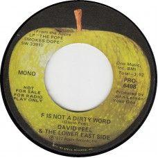 Apple PRO 6498 DAVID PEEL & LOWER EAST SIDE F Is Not A Dirty Word (Apple PRO 6498) USA promo 45