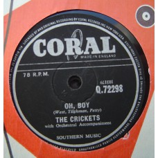 CRICKETS - Oh Boy / Not Fade Away (Coral 72298) 78 RPM