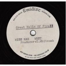 MAE WEST Great Balls Of Fire (Emidisc Acetate) UK 1968 Acetate